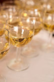 The Wedding Banquet. Banquet in the restaurant. Glasses of champagne in several rows on a mirror tray Stock Image