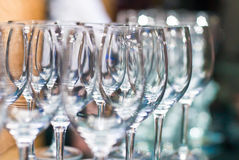 The Wedding Banquet. Banquet in the restaurant. Glasses of champagne in several rows on a mirror tray Royalty Free Stock Photos
