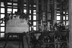 Wedding banquet in the barn. Vintage Style. Black and white Royalty Free Stock Images