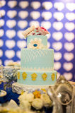 Wedding and Banquet Cake. Beautiful wedding cake closeup color table Royalty Free Stock Photography