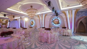 Wedding banquet hall stock video