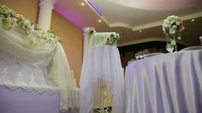 Wedding banquet hall interior. stock footage