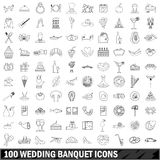 100 wedding banquet icons set, outline style Stock Images