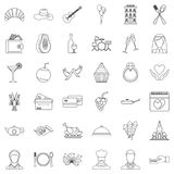 Wedding banquet icons set, outline style. Wedding banquet icons set. Outline style of 36 wedding banquet vector icons for web isolated on white background Stock Images