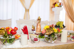 Wedding banquet in a restaurant, served table Stock Photo