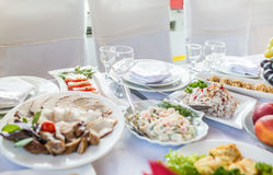 Wedding banquet in a restaurant, served table Royalty Free Stock Photos