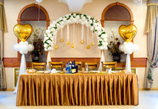 Wedding banquet table. A laid wedding banquet table at a restaurant Royalty Free Stock Photo