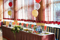 Wedding banquet table Stock Images