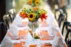 Wedding and Banquet table. Beautiful spent banquet table decoration Stock Photos