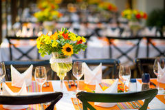 Wedding and Banquet table. Beautiful spent banquet table decoration Close-up Stock Photography