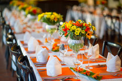 Wedding and Banquet table Royalty Free Stock Photo
