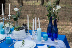Wedding banquet table. Cake with white cream decorated with blueberry and greenery. Cutlery with stemware plates and candles on a Stock Photography