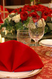 Wedding banquet table details. Details of a chinese wedding banquet table setting Royalty Free Stock Photo