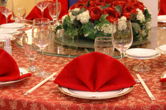 Wedding banquet table details Royalty Free Stock Image