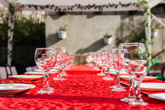 Wedding banquet table. With glasses Stock Photo