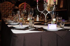 Wedding banquet table. Serving wedding table at the restaurant Royalty Free Stock Photography