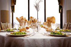 Wedding banquet table set up Royalty Free Stock Photos