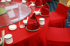 Wedding banquet table setting. Chinese wedding banquet table setting Stock Image