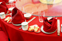 Wedding banquet table setting. Close-up of Chinese wedding banquet table setting Stock Photos