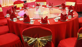 Wedding banquet table setting. Chinese wedding banquet table setting Royalty Free Stock Images