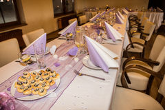 Wedding banquet table setting Stock Photos