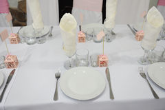 Wedding banquet table setting Royalty Free Stock Photography