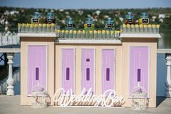 Wedding bar with different type of lemonade. Prepare for guest stock image