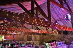 Wedding barn. Wedding or event room decorated for a party Stock Photo