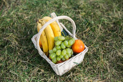 Wedding basket with different fruits Royalty Free Stock Photography
