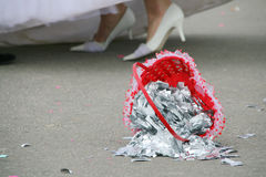Wedding basket on the floor Royalty Free Stock Photo