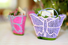 Wedding basket presente. Wedding present, pink and blue, with a butterfly on it Royalty Free Stock Images