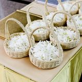Wedding basket with white flower Royalty Free Stock Image