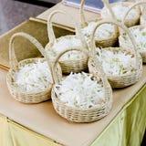 Wedding basket with white flower Royalty Free Stock Image