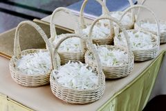 Wedding basket with white flower Royalty Free Stock Photography