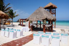 Wedding on the Beach. Beach ready for wedding ceremony, Mexico Stock Photography