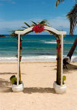Wedding on the beach. Beautiful wedding decoration on the caribbean beach Royalty Free Stock Photography