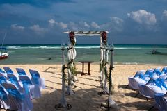 Wedding on the beach. In mexico on yucatan peninsula Royalty Free Stock Image