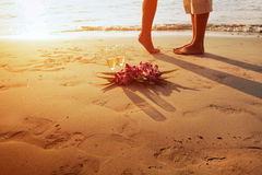 Wedding on the beach, feet of romantic couple Royalty Free Stock Photo