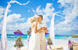 Wedding on the beach. Gorgeous Balinese beach with rich decoration Stock Images
