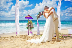 Wedding on the beach. Gorgeous Balinese beach with rich decoration Royalty Free Stock Photo