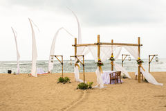 Wedding on beach, tropical outdoor wedding set up decoration det Stock Images