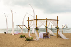 Wedding on beach, tropical outdoor wedding set up decoration det Royalty Free Stock Image