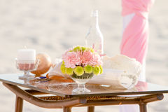 Wedding on beach, tropical outdoor wedding set up Stock Photo