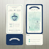 Wedding on the beach watercolour nautical theme with rsvp card set. On wood background Royalty Free Stock Image