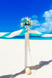 Wedding on the beach . Wedding arch decorated with flowers on tr Stock Photography