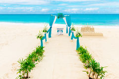 Wedding on the beach . Wedding arch decorated with flowers Stock Photography