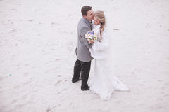 Wedding on the beach in winter Royalty Free Stock Images