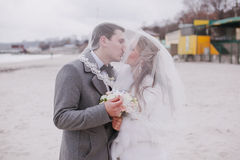 Wedding on the beach in winter Royalty Free Stock Photo