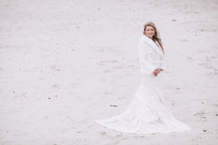Wedding on the beach in winter Royalty Free Stock Image