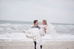 Wedding on the beach in winter Stock Image